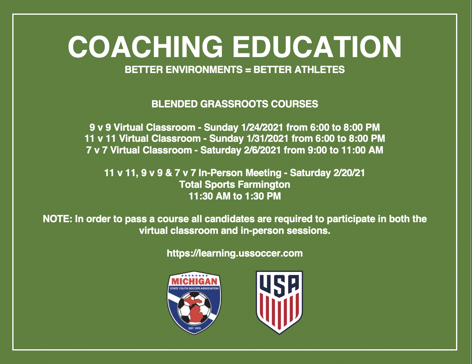 Grassroots Course Schedule January 2021